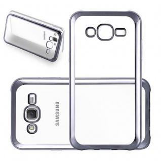 Cadorabo Hülle für Samsung Galaxy J5 2015 (5) - Hülle in TRANSPARENT mit CHROM SCHWARZ - Handyhülle aus TPU Silikon im Chrom Design - Silikonhülle Schutzhülle Ultra Slim Soft Back Cover Case Bumper