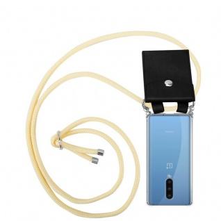 Cadorabo Handy Kette für Oneplus 8 in CREME BEIGE Silikon Necklace Umhänge Hülle mit Silber Ringen, Kordel Band Schnur und abnehmbarem Etui Schutzhülle