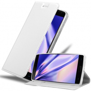 Cadorabo Hülle für OnePlus 2 in CLASSY SILBER - Handyhülle mit Magnetverschluss, Standfunktion und Kartenfach - Case Cover Schutzhülle Etui Tasche Book Klapp Style