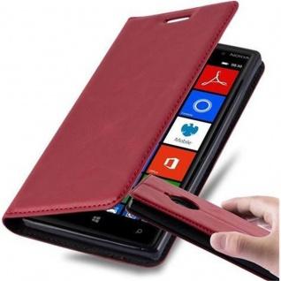 Cadorabo Hülle für Nokia Lumia 830 in APFEL ROT - Handyhülle mit Magnetverschluss, Standfunktion und Kartenfach - Case Cover Schutzhülle Etui Tasche Book Klapp Style
