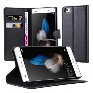 Cadorabo Hülle für Huawei P8 LITE 2015 in PHANTOM SCHWARZ - Handyhülle mit Magnetverschluss, Standfunktion und Kartenfach - Case Cover Schutzhülle Etui Tasche Book Klapp Style