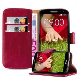 Cadorabo Hülle für LG G2 MINI in WEIN ROT Handyhülle mit Magnetverschluss, Standfunktion und Kartenfach Case Cover Schutzhülle Etui Tasche Book Klapp Style