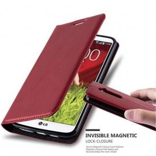 Cadorabo Hülle für LG G2 in APFEL ROT Handyhülle mit Magnetverschluss, Standfunktion und Kartenfach Case Cover Schutzhülle Etui Tasche Book Klapp Style