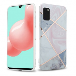 Cadorabo Hülle für Samsung Galaxy A41 Hülle in Pink grau weiß Marmor No.10 Handyhülle aus TPU Silikon mit Muster Mosaik Silikonhülle Schutzhülle Ultra Slim Back Cover Case Bumper