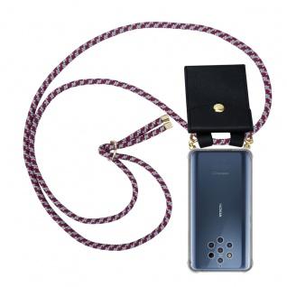 Cadorabo Handy Kette für Nokia 10 in ROT WEISS Silikon Necklace Umhänge Hülle mit Gold Ringen, Kordel Band Schnur und abnehmbarem Etui Schutzhülle