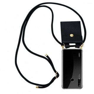 Cadorabo Handy Kette für Huawei P30 LITE in SCHWARZ - Silikon Necklace Umhänge Hülle mit Gold Ringen, Kordel Band Schnur und abnehmbarem Etui ? Schutzhülle