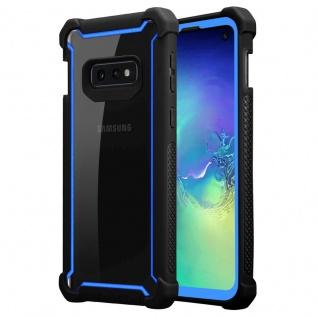 Cadorabo Hülle für Samsung Galaxy S10e in BLAU SCHWARZ 2-in-1 Handyhülle mit TPU Silikon-Rand und Acryl-Glas-Rücken Schutzhülle Hybrid Hardcase Back Case