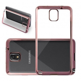Cadorabo Hülle für Samsung Galaxy NOTE 3 - Hülle in TRANSPARENT mit CHROM ROSEGOLD ? Handyhülle aus TPU Silikon im Chrom Design - Silikonhülle Schutzhülle Ultra Slim Soft Back Cover Case Bumper