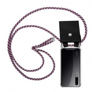 Cadorabo Handy Kette für Huawei P30 in ROT WEISS - Silikon Necklace Umhänge Hülle mit Silber Ringen, Kordel Band Schnur und abnehmbarem Etui - Schutzhülle
