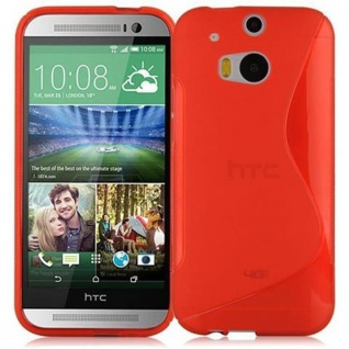 Cadorabo Hülle für HTC ONE M8 (2.Gen.) in INFERNO ROT - Handyhülle aus flexiblem TPU Silikon - Silikonhülle Schutzhülle Ultra Slim Soft Back Cover Case Bumper