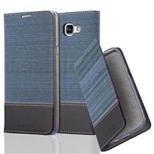 Cadorabo Hülle für Samsung Galaxy A9 2015 in DUNKEL BLAU SCHWARZ - Handyhülle mit Magnetverschluss, Standfunktion und Kartenfach - Case Cover Schutzhülle Etui Tasche Book Klapp Style