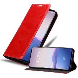 Cadorabo Hülle für MEIZU 16s in APFEL ROT - Handyhülle mit Magnetverschluss, Standfunktion und Kartenfach - Case Cover Schutzhülle Etui Tasche Book Klapp Style