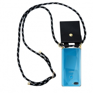 Cadorabo Handy Kette für Oppo A12 in SCHWARZ SILBER Silikon Necklace Umhänge Hülle mit Gold Ringen, Kordel Band Schnur und abnehmbarem Etui Schutzhülle