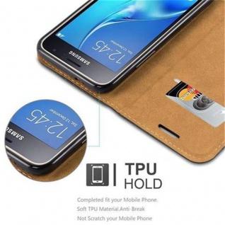 Cadorabo Hülle für Samsung Galaxy J1 2016 (6) - Hülle in SIGNAL SCHWARZ - Handyhülle mit Standfunktion, Kartenfach und Textil-Patch - Case Cover Schutzhülle Etui Tasche Book Klapp Style - Vorschau 4