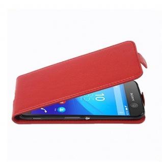 Cadorabo Hülle für Sony Xperia M5 - Hülle in INFERNO ROT ? Handyhülle aus strukturiertem Kunstleder im Flip Design - Case Cover Schutzhülle Etui Tasche