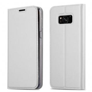 Cadorabo Hülle für Samsung Galaxy S8 in CLASSY SILBER Handyhülle mit Magnetverschluss, Standfunktion und Kartenfach Case Cover Schutzhülle Etui Tasche Book Klapp Style