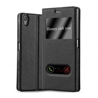Cadorabo Hülle für Sony Xperia Z5 PREMIUM in KOMETEN SCHWARZ ? Handyhülle mit Magnetverschluss, Standfunktion und 2 Sichtfenstern ? Case Cover Schutzhülle Etui Tasche Book Klapp Style - Vorschau 1