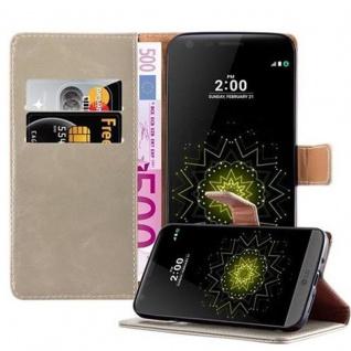 Cadorabo Hülle für LG G5 in CAPPUCINO BRAUN - Handyhülle mit Magnetverschluss, Standfunktion und Kartenfach - Case Cover Schutzhülle Etui Tasche Book Klapp Style