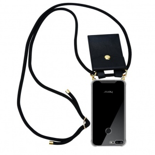 Cadorabo Handy Kette für Honor 9 LITE in SCHWARZ ? Silikon Necklace Umhänge Hülle mit Gold Ringen, Kordel Band Schnur und abnehmbarem Etui ? Schutzhülle