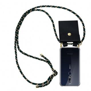 Cadorabo Handy Kette für Nokia 7.1 2018 in CAMOUFLAGE Silikon Necklace Umhänge Hülle mit Gold Ringen, Kordel Band Schnur und abnehmbarem Etui Schutzhülle