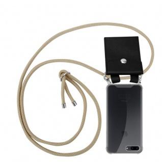 Cadorabo Handy Kette für Apple iPhone 8 PLUS / 7 PLUS / 7S PLUS in GLÄNZEND BRAUN - Silikon Necklace Umhänge Hülle mit Silber Ringen, Kordel Band Schnur und abnehmbarem Etui - Schutzhülle