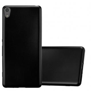 Cadorabo Hülle für Sony Xperia XA in METALLIC SCHWARZ - Handyhülle aus flexiblem TPU Silikon - Silikonhülle Schutzhülle Ultra Slim Soft Back Cover Case Bumper