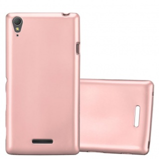 Cadorabo Hülle für Sony Xperia T3 in METALLIC ROSÉ GOLD - Handyhülle aus flexiblem TPU Silikon - Silikonhülle Schutzhülle Ultra Slim Soft Back Cover Case Bumper