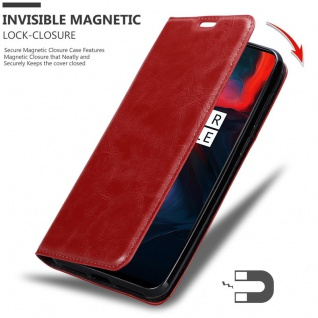 Cadorabo Hülle für One Plus 6 in APFEL ROT Handyhülle mit Magnetverschluss, Standfunktion und Kartenfach Case Cover Schutzhülle Etui Tasche Book Klapp Style - Vorschau 3