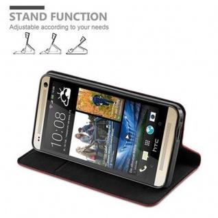 Cadorabo Hülle für HTC ONE M7 (1.Generation) in APFEL ROT - Handyhülle mit Magnetverschluss, Standfunktion und Kartenfach - Case Cover Schutzhülle Etui Tasche Book Klapp Style - Vorschau 4