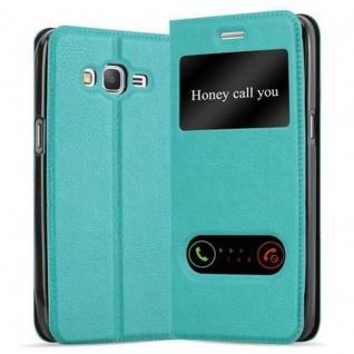 Cadorabo Hülle für Samsung Galaxy GRAND PRIME in MINT TÜRKIS - Handyhülle mit Magnetverschluss, Standfunktion und 2 Sichtfenstern - Case Cover Schutzhülle Etui Tasche Book Klapp Style