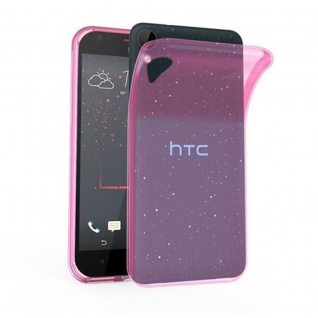 Cadorabo Hülle für HTC Desire 10 LIFESTYLE / Desire 825 - Hülle in TRANSPARENT PINK ? Handyhülle aus TPU Silikon im Ultra Slim 'AIR' Design - Ultra Slim Soft Backcover Case Bumper