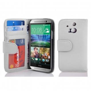 Cadorabo Hülle für HTC ONE M8 (2. Gen.) in MAGNESIUM WEIß - Handyhülle mit Magnetverschluss und 3 Kartenfächern - Case Cover Schutzhülle Etui Tasche Book Klapp Style