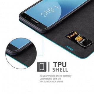 Cadorabo Hülle für Samsung Galaxy J5 2017 in PETROL TÜRKIS Handyhülle mit Magnetverschluss, Standfunktion und Kartenfach Case Cover Schutzhülle Etui Tasche Book Klapp Style - Vorschau 4