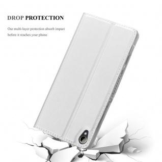 Cadorabo Hülle für HTC Desire 10 Lifestyle / Desire 825 in CLASSY SILBER - Handyhülle mit Magnetverschluss, Standfunktion und Kartenfach - Case Cover Schutzhülle Etui Tasche Book Klapp Style - Vorschau 5