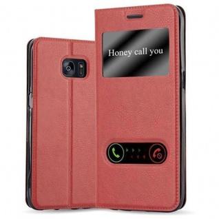 Cadorabo Hülle für Samsung Galaxy S7 EDGE in SAFRAN ROT Handyhülle mit Magnetverschluss, Standfunktion und 2 Sichtfenstern Case Cover Schutzhülle Etui Tasche Book Klapp Style