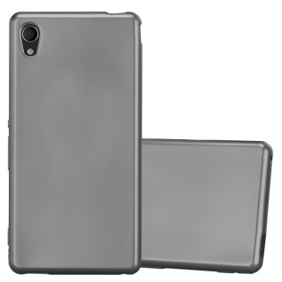 Cadorabo Hülle für Sony Xperia M4 Aqua in METALLIC GRAU - Handyhülle aus flexiblem TPU Silikon - Silikonhülle Schutzhülle Ultra Slim Soft Back Cover Case Bumper