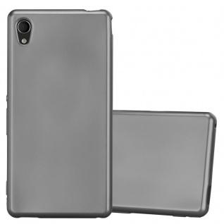 Cadorabo Hülle für Sony Xperia M4 Aqua in METALLIC GRAU Handyhülle aus flexiblem TPU Silikon Silikonhülle Schutzhülle Ultra Slim Soft Back Cover Case Bumper