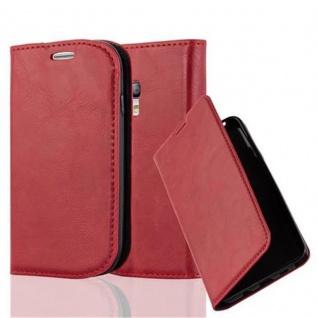 Cadorabo Hülle für Samsung Galaxy S3 MINI in APFEL ROT - Handyhülle mit Magnetverschluss, Standfunktion und Kartenfach - Case Cover Schutzhülle Etui Tasche Book Klapp Style