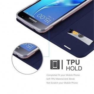 Cadorabo Hülle für Samsung Galaxy J3 2016 in CLASSY DUNKEL BLAU - Handyhülle mit Magnetverschluss, Standfunktion und Kartenfach - Case Cover Schutzhülle Etui Tasche Book Klapp Style - Vorschau 2