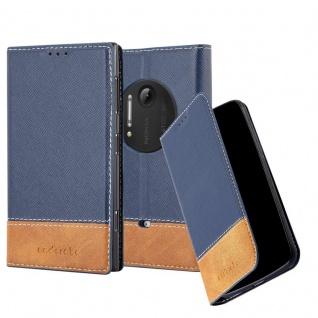 Cadorabo Hülle für Nokia Lumia 1020 in DUNKEL BLAU BRAUN - Handyhülle mit Magnetverschluss, Standfunktion und Kartenfach - Case Cover Schutzhülle Etui Tasche Book Klapp Style