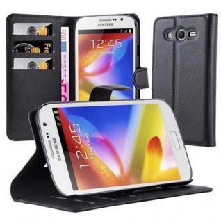 Cadorabo Hülle für Samsung Galaxy GRAND in PHANTOM SCHWARZ Handyhülle mit Magnetverschluss, Standfunktion und Kartenfach Case Cover Schutzhülle Etui Tasche Book Klapp Style