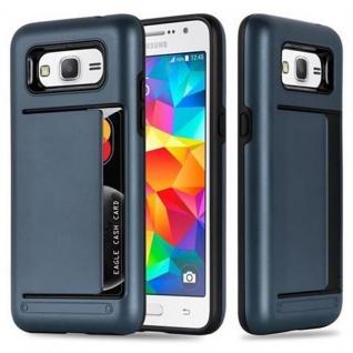 Cadorabo Hülle für Samsung Galaxy GRAND PRIME - Hülle in ARMOR DUNKEL BLAU - Handyhülle mit Kartenfach - Hard Case TPU Silikon Schutzhülle für Hybrid Cover im Outdoor Heavy Duty Design