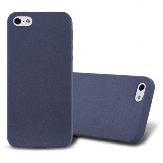 Cadorabo Hülle für Apple iPhone 5 / iPhone 5S / iPhone SE in FROST DUNKEL BLAU - Handyhülle aus flexiblem TPU Silikon - Silikonhülle Schutzhülle Ultra Slim Soft Back Cover Case Bumper