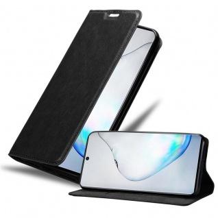 Cadorabo Hülle für Samsung Galaxy NOTE 10 in NACHT SCHWARZ Handyhülle mit Magnetverschluss, Standfunktion und Kartenfach Case Cover Schutzhülle Etui Tasche Book Klapp Style