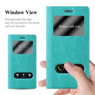 Cadorabo Hülle für Huawei P7 in MINT TÜRKIS ? Handyhülle mit Magnetverschluss, Standfunktion und 2 Sichtfenstern ? Case Cover Schutzhülle Etui Tasche Book Klapp Style - Vorschau 2