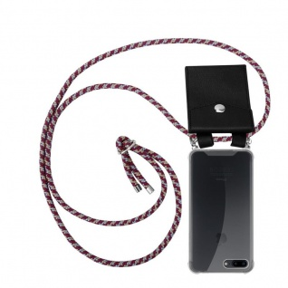 Cadorabo Handy Kette für Apple iPhone 8 PLUS / 7 PLUS / 7S PLUS in ROT GELB WEISS Silikon Necklace Umhänge Hülle mit Silber Ringen, Kordel Band Schnur und abnehmbarem Etui Schutzhülle