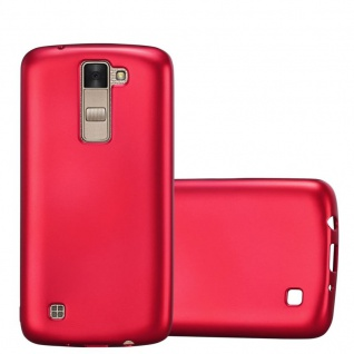Cadorabo Hülle für LG K8 2016 in METALLIC ROT Handyhülle aus flexiblem TPU Silikon Silikonhülle Schutzhülle Ultra Slim Soft Back Cover Case Bumper