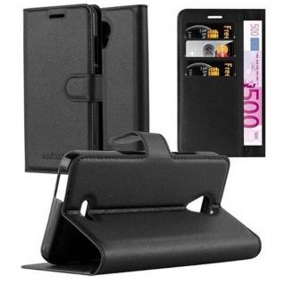 Cadorabo Hülle für WIKO FREDDY in PHANTOM SCHWARZ - Handyhülle mit Magnetverschluss, Standfunktion und Kartenfach - Case Cover Schutzhülle Etui Tasche Book Klapp Style