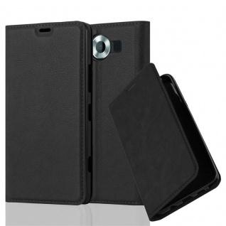 Cadorabo Hülle für Nokia Lumia 950 in NACHT SCHWARZ - Handyhülle mit Magnetverschluss, Standfunktion und Kartenfach - Case Cover Schutzhülle Etui Tasche Book Klapp Style