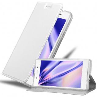 Cadorabo Hülle für Sony Xperia Z5 PREMIUM in CLASSY SILBER - Handyhülle mit Magnetverschluss, Standfunktion und Kartenfach - Case Cover Schutzhülle Etui Tasche Book Klapp Style